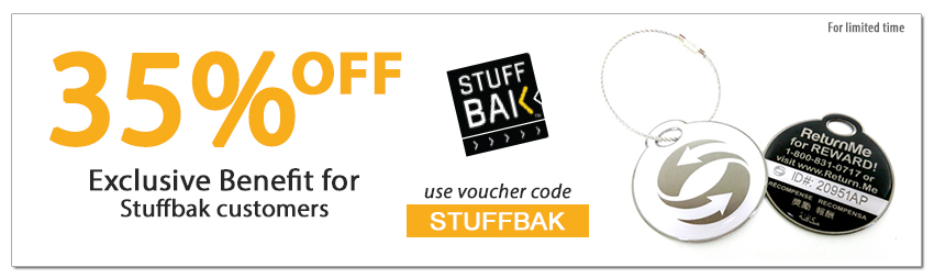 Enjoy 35% off ReturnMe tags by using coupon code STUFFBAK